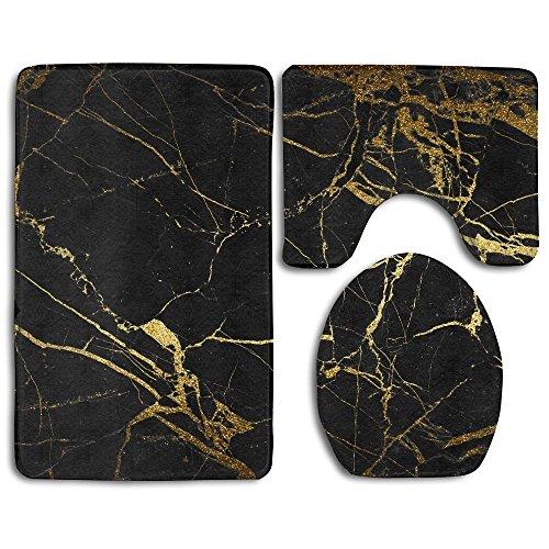 RedBeans Badezimmerteppich, Design: Marmor, schwarz / goldfarben, waschbar, rutschfest, 3-teiliges Set