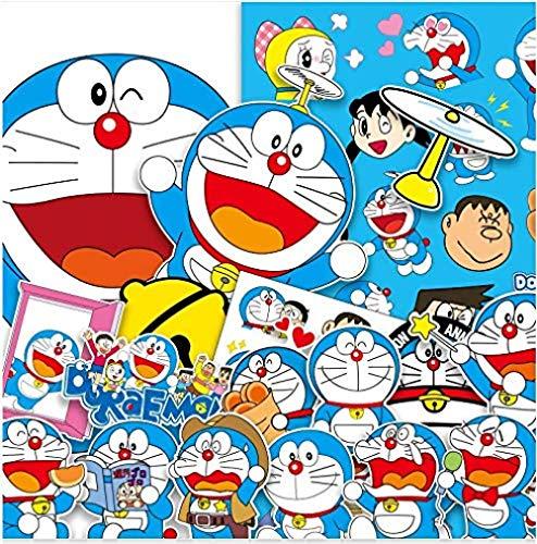votgl Doraemon Cat Doraemon Pegatinas de animación Maleta Trolley Maleta portátil Maleta Pegatinas Impermeables 35 Uds