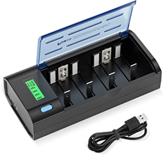 POWXS Universal LCD Battery Charger for NiMH NiCD AA AAA C D 9V Rechargeable Batteries with Discharge Function