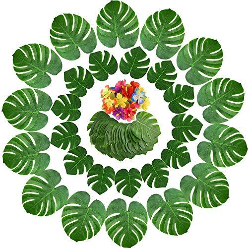 Yuccer 65 Piezas Decoraciones de Fiesta Tropical, Hojas de Palma Monstera Artificial Tropical y Flores Hibiscus para Decoración de Fiesta Hawaiana Luau Selva Temática de Playa (65 Piezas)