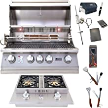 Lion Premium Grills 32-Inch Liquid Propane Grill L75000 and Double Side Burner with 5 in 1 BBQ Tool Set Best of Backyard Gourmet Package Deal
