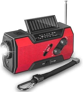Emmabin 非常用照明器具 ラジオライト 手回し充電 USB充電 防災ラジオ2000mAH地震 震災 津波 台風 停電緊急対策 iPhone Android スマホ充電対応可能 手巻きラジオ 説明書付き Red
