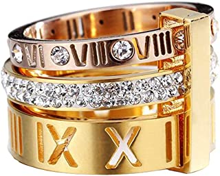 Women's Stainless Steel 18k Gold Plated Roman Numeral White Diamond 3 in 1 Ring