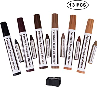 Anoak Furniture Markers Touch up, Furniture Repair Kit Wood Markers- Set of 13-6 Markers and 6 Wax Sticks with a Sharpener - for Stains, Scratches, Wood Floors, Tables, Desks, Carpenters, Bedposts
