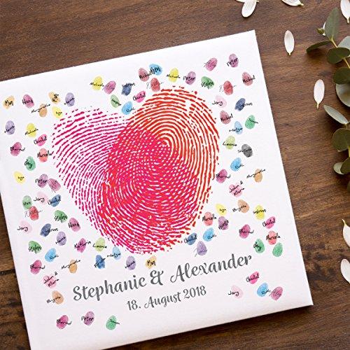 Gästebuch | Personalisierte Leinwand für Fingerabdrücke