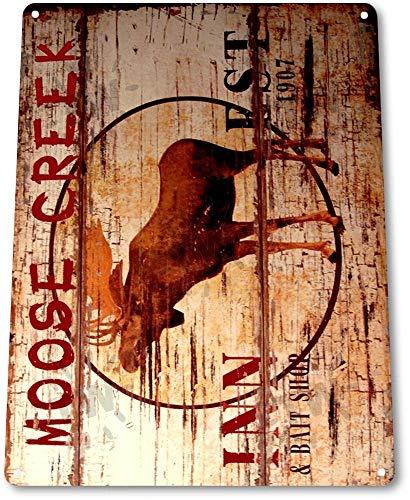SIGNCHAT Blechschild B325 Elch Creek Lodge Inn Log Cabin Farm Cottage Rustic Metal Decor Blechschild 20,3 x 30,5 cm