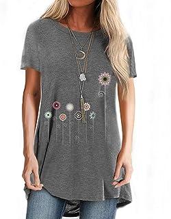 JNIFULI Womens Summer Shirts Dandelion Floral Printed Short Sleeve Round Neck Casual Cotton T Shirt Blouse Tops