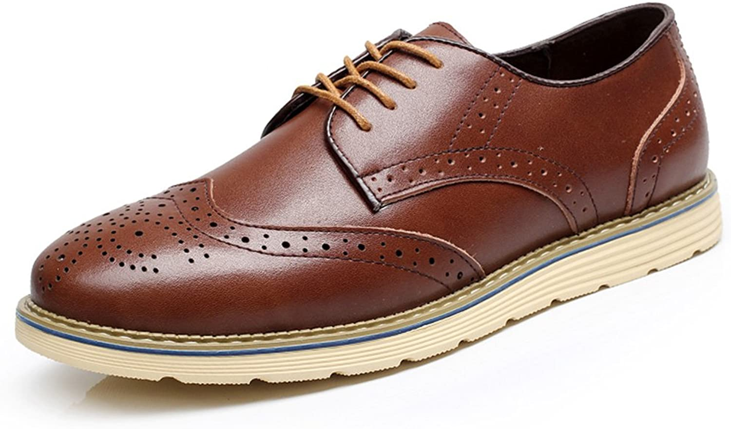 Beinfaith Men's Genuine Leather Oxfords Brogues Flats shoes Lace-ups