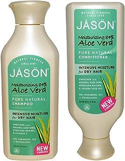 JASON All Natural Organic Aloe Vera Shampoo and Conditioner Bundle with Dry Hair Treatment Product, Calendula, Chamomile and Grapefruit, No Sulfates, No Parabens, Vegan, 16 fl oz each