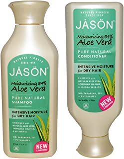 JASON All Natural Organic Aloe Vera Shampoo and Conditioner Bundle with Dry Hair Treatment Product, Calendula, Chamomile and Grapefruit, No Sulfates, No Parabens, Vegan, 16 fl oz each