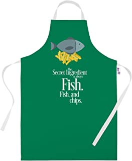 Printed Aprons for Men Novelty BBQ Apron Secret Ingredients is Fish & Chips Baking Gifts Kitchen Apron Cooking Chefs Gift