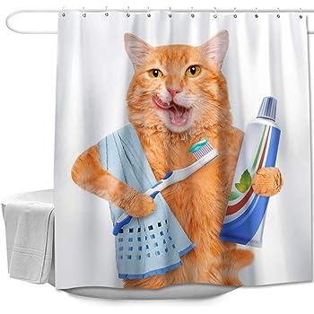 Cute Cat Head Shower Curtain Liner Waterproof Fabric Bathroom Bath Accessory Set