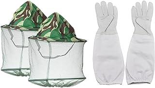 SUNREEK 2 Stück Camouflage-Maske für Imker, Anti-Mücken, Biene, Käfer, Insekten, Fliegen-Maske, Hut mit Kopfnetz, Gesichtsschutz, Outdoor-Angelausrüstung