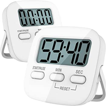 Kitchen Timer, 2 Pack Digital Kitchen Timers [ 2020 Version ] Magnetic Countdown Timer with Loud Alarm, Big Digits, Back Stand for Cooking, Classroom, Bathroom, Teachers, Kids - AAA Battery Included