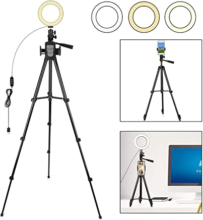 DelongKe LED Ring Light with Tripod Stand 6.3 Inch Dimmable 3 Light Modes 10 Brightness for Streaming YouTube Video Shooting Photography Lighting