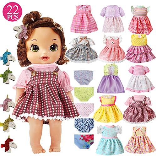 22 Pcs Girl Doll Clothes and Accessories For Alive Baby Doll Bitty Baby American Girls Doll Fits 12 13 14 15 16 Inch Girl Dolls Include 12 Dress 5 Underwear 5 Doll Unicorn Hairpin Girls Gift (22pcs)