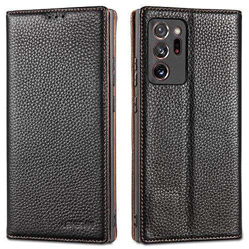LENSUN Funda Samsung Galaxy Note 20 Ultra con Tapa, Funda de Cuero Genuino con Cierre Magnético y Ranuras para Tarjetas Carcasa Libro Protección para Teléfono Samsung Note 20 Ultra-Negro (N20U-DC-BK)