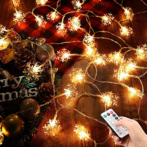 Thanksgiving 20 Feet 40 LEDs Snowflake String Light Waterproof Winter Big String Light Battery Powered 8 Flicker Modes Snow Theme Wonderland Snowflake Christmas Light Decor for Chr