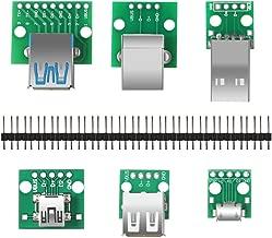 Organizer 6pcs USB to DIP Adapter Converter, Mini USB Female, Micro USB Female, 2.54mm 4p USB Male, USB 2.0 USB 3.0 Female, USB Type B Square Interface Female to DIP PCB Power Breakout Board Module
