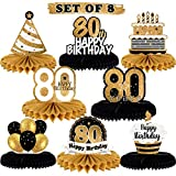 LINGTEER Happy 80th Birthday Table Honeycomb Centerpieces Perfect for Cheers to 80th Birthday Eighty Years Old Party Table Decorations Gift Sign.