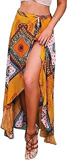 RUIGO Women's High-Waisted Boho Asymmetrical Hem Tie up Long Maxi Print Wrap Skirt