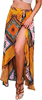 Women's High-Waisted Boho Asymmetrical Hem Tie up Long Maxi Print Wrap Skirt