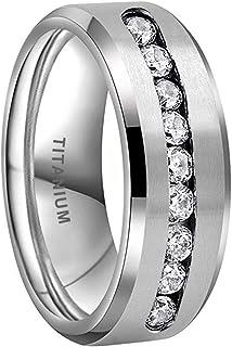 iTungsten 8mm Titanium Rings for Men Women Eternity Wedding Engagement Bands White/Blue Round Cubic Zirconia Inlay Beveled...