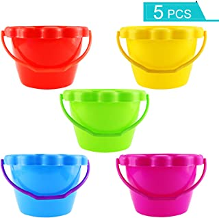 Faxco 5 Pack 6'' 1.5 L Plastic Small Bucket,Small Sand Pail Beach Toy,Beach Pails for Sand Molds at The Sandbox(5 Colors)