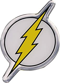 Fan Emblems The Flash Logo Car Decal Domed/Black/Yellow/White/Chrome Finish, DC Comics Automotive Emblem Sticker Applies Easily to Cars, Trucks, Motorcycles, Laptops, Cellphones, Almost Anything
