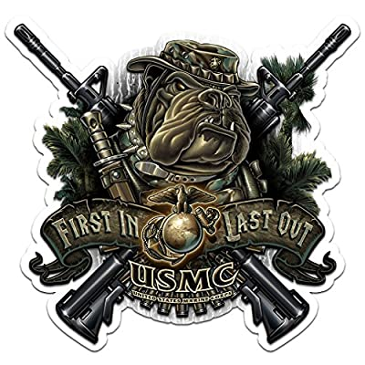 Military Decals, Show Your Pride with our Marine Devil Dog First In First Out Patriotic Decals, Perfect for Your Kitchen, Car, Wall or Bike, Gifts for Military