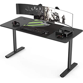 It's_Organized 60 inch Computer Gaming Desk Large Table Workstation with Mouse Pad, Sturdy I-Shaped Leg Widen Space Modern Writing Table for Home Office Gaming/Working,Black