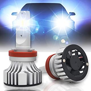 Apezon H11/H8/H9 LED Headlight Bulbs 12000LM 72W Extremely Super Bright Xenon Cool White CREE 6500K Halogen Replacement Adjustable Beam All-in-One Conversion Kit (Pack of 2)