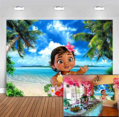 MMY 7x5ft Baby Moana Backdrop 1st Birthday Party Banner Supplies Summer Tropical Coconut Palm Tree Ocean Background Princess Baby Shower Moana Wallpaper Photobooth Props