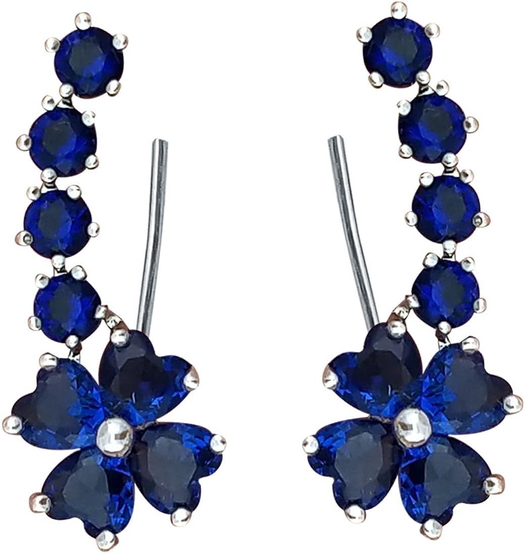 YOQUCOL Woman Flower Shape Cubic Zirconia Crystal Cuff Wrap Ear Vines Climbers Earrings Jewelry For Girls