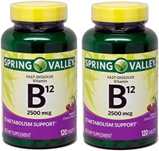 Spring Valley Sublingual B12, Cherry Flavor, 2500 mcg, (Pack of 2) 240 ct Microlozenges