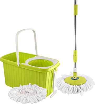 Cello Kleeno by Hi Clean Spin Mop with 2 refill and 1 liquid dispenser Green