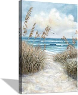 Country Underwater Backdrop Image Decor Painting of a Sea Coast with Rock Beach Shore Wave and Seagull Nature Art PVC Adhesive Decor Paper Cling Decals Poster Blue Brown White