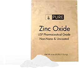 PURE Zinc Oxide Powder (4 oz.), Eco-Friendly Packaging, Non-Nano, Uncoated, Pharmaceutical Grade, For Sunscreen, Diaper Ra...