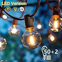 [50 LED Versión] 16.6 Metros Guirnaldas luminosas de Exterior,OxyLED G40 50+2 Bombillas Luces de la Secuencia del Jardín al Aire Libre,Decorative String Luces,Garden Terrace Luces de Patio de Navidad