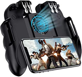 Mobile Game Controller 4 Trigger with Cooling Fan for PUBG/Call of Duty/Fotnite [6 Finger Operation] L1R1 L2R2 Gaming Grip Gamepad Mobile Controller Trigger for 4.7-6.5