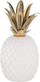 Sagebrook Home - Piña (cerámica, metal, 28 cm), color blanco