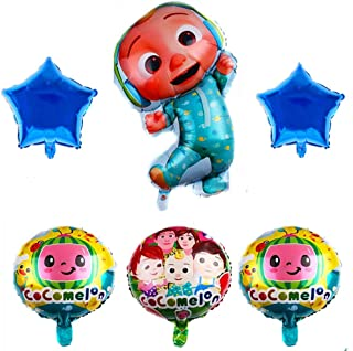 6 pieces of cocomelon party aluminum foil balloons for cocomelon kids birthday party balloons, perfect for baby welcome pa...