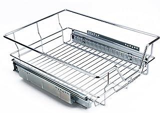 Zerone Cesto Extraíble, 40CM Cajón Telescópico Cocina Superficie Soporte de Metal Cromado Cesto Extraible Armario Cocina con Carril Deslizante (15.7