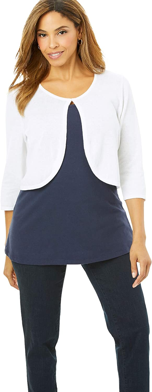 Jessica London Women's Plus Size Curved Hem Sweater Shrug Cardigan Sweater