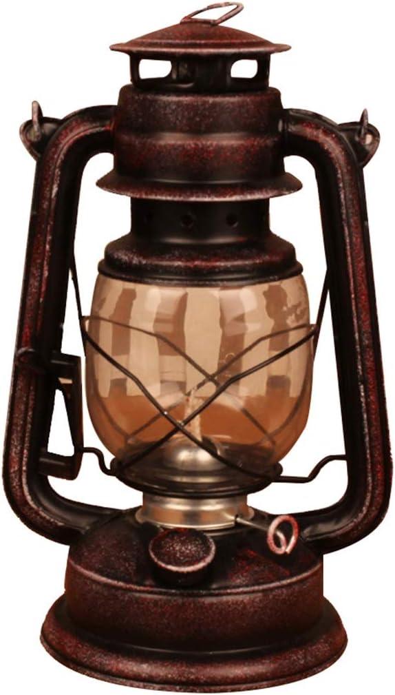 YIKE-ランタン 28cmの古い青銅色の灯油ランプ