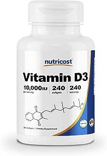 Nutricost Vitamin D3 10,000 IU, 240 Softgel Capsules - Potent, Non-GMO, Gluten Free