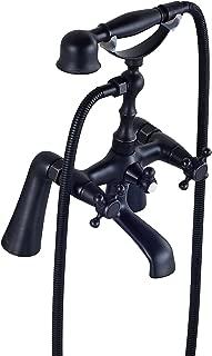 Rozin Deck Mount 2 Holes Bathtub Faucet Oil Rubbed Bronze Dual Handle Mixer Tap with Hand Shower
