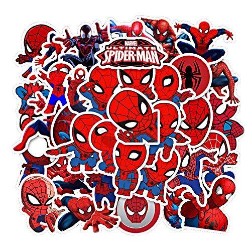 LVLUO Disney Spider-Man Pegatina Guitarra portátil Equipaje Casco Fresco Dibujos Animados Pegatina Impermeable Vengadores álbum de Recortes Juguete para niños 35 Uds
