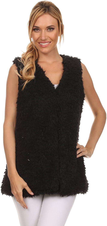 Ambiance Apparel Women's Faux Fur Sleeveless Outerwear Coat