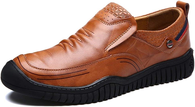 EGS-schuhe Mnner Stiefel Mokassins Slip On Style OX Leder Mode Nhte Anti-Kollision Toe Reine Farben Driving Loafer,Grille Schuhe (Farbe   Light braun, Gre   40 EU)